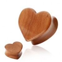 Cherry Wood plug - srdce - 8 mm
