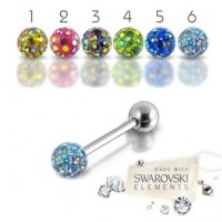 Piercing do jazyka - SWAROVSKI® elements - 1,6 x 16 mm | č. 1